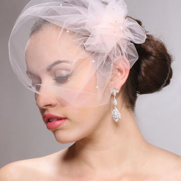 Tulle Birdcage Veil Bridal Cap with Side Pouf & Swarovski Crystals 3931V