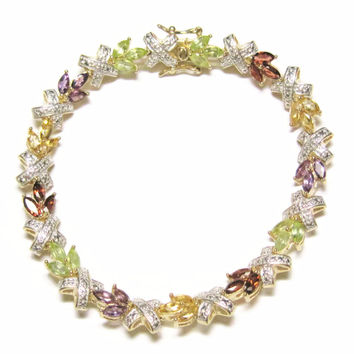 Vermeil Multi Stone X Bracelet Gold Over Sterling 7.5 inches Peridot Garnet Amethyst Citrine Vintage 90s