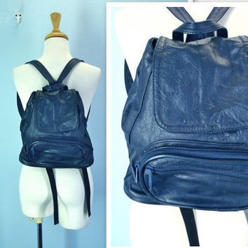 Vintage Backpack / Navy Blue Leather Purse Tote