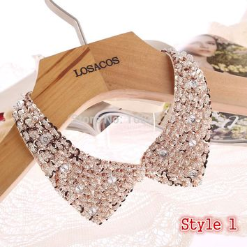 Sequined beaded knitted cloth Ribbon Fake collar Choker Necklaces