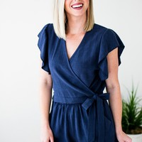 Hold On Tight Wrap Romper in Navy