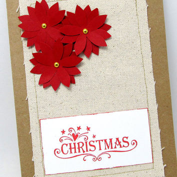 Christmas Card - Poinsettia Card - Red Poinsettia - Kraft Card - Canvas - Blank Card - Red Christmas Card - Rustic Card - Red Holiday Card