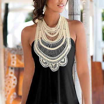 black and white sleeveless t shirt