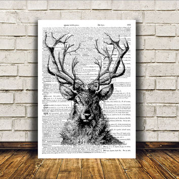 Dictionary print Animal art Deer poster Wall decor RTA73