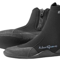 NeoSport Wetsuits Premium Neoprene 3mm Hi Top Zipper Boot, Black, 9 - Water Shoes, Surfing & Diving