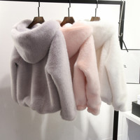 Plus Size 5XL 6XL 2016 Winter Casual Women Faux Fur Coat Hooded Pink Fur Coats Mink Fur Jacket Women Furry Hooded Coat
