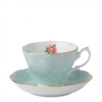 Royal Albert Polka Rose Vintage Teacup & Saucer  | Occa-Home.co.uk