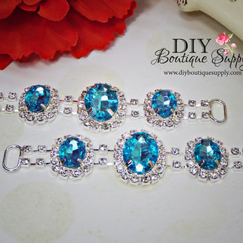 Turquoise Aqua Blue Crystal Rhinestone headband Connectors Bikini Connectors Crystal connectors for baby headbands 95mm 895045