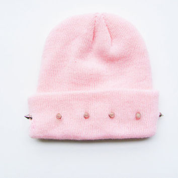 Studded Beanie - Pink Beanie - Pastel Hat - Kawaii - Grunge - ALL SIZES