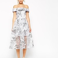 ASOS SALON Midi Dress in Floral Organza