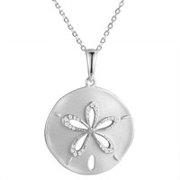 Sterling Silver Satin Finished Pave CZ Sand Dollar Pendant Necklace