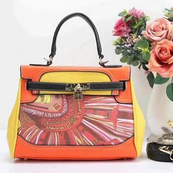 HERMES Women Shopping Leather Crossbody Satchel Shoulder Bag Orange yellow I-LLBPFSH