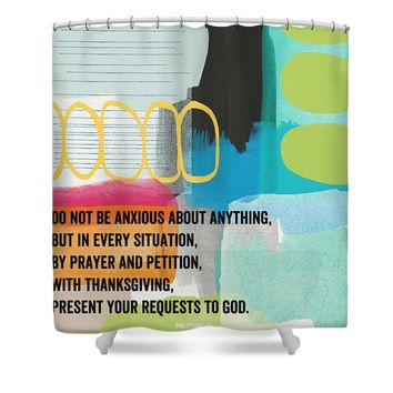 By Prayer and Petition- Contemporary Christian Art by Linda Wood Shower Curtain
