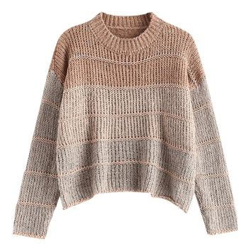 Drop Shoulder Natural Color Chunky Knit Cropped Sweater