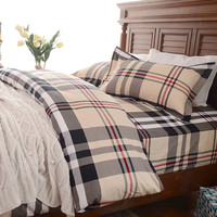 On Sale Hot Deal Bedroom Cotton Plaid Winter Thicken Bedding Set [9392534604]