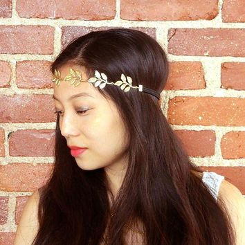 Roman Style Gold Leaf Headband, Olive Head Crown, Boho Chic, Bridal Hair Accessory, Wedding Accessory, Hippy