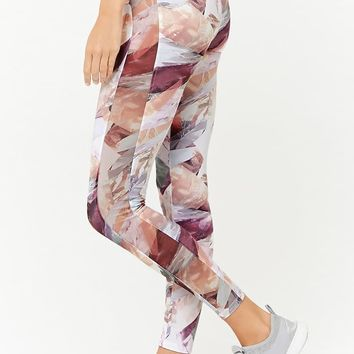 Active Abstract Mesh Panel Leggings