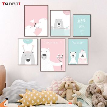Modern A4 Posters And Print Cute Cartoon Animals Bear Canvas Painting Wall Art Pictures For  Kids Baby Room Nordic Home Decor