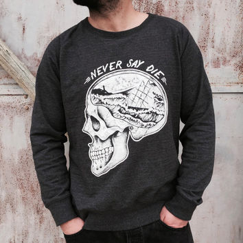 men's / unisex sweatshirt with skull tattoo print. Sailor handmade illustration with ship and lighthouse in the brain. Never say die.