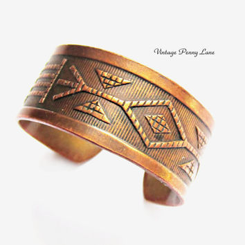 Vintage Copper Cuff Ring, Native American Jewelry