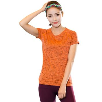 Active Round Collar Short Sleeve Yoga Fitness Space Dye Print T-shirt for Women