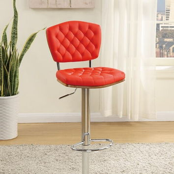 Poundex F1582 Set of 2 kossini collection contemporary style red tufted back faux leather adjustable swivel bar stool