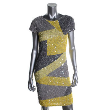 Alice + Olivia Womens Sequined Knee-Length Cocktail Dress