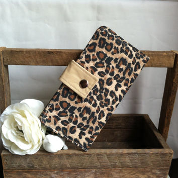 Leopard print folded cotton cream wallet, coin pouch, card slots, bill slots