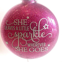 Car Window Decal - Vinyl Decals - She Leaves a Little Sparkle Wherever She Goes - Car Decal - Tumbler Decal - Over 20 Colors Available