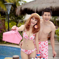 Rakuten: Pretty swimsuit strawberry pattern couple swimsuit pair look swimsuit Lady's swimsuit men beachwear tank top bikini surf underwear couple swimsuit pair look matching pair ♪ pair look overseas travel / honeymoon / sea bathing / swimming pool / hot
