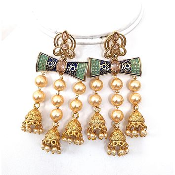 Triple Tassel pearl bead jhumka with matte meenakari work Earring