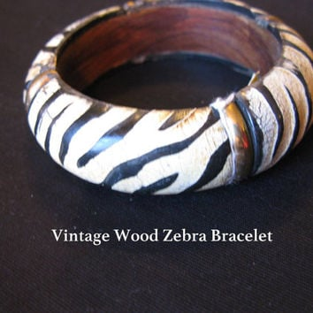 Zebra Jewelry, Bracelet Wood 80s Jewelry Bangle