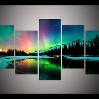 5 piece canvas art colorful Aurora Borealis Painting decoration for home wall art on canvas living room decor Art Picture W/1254