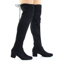 Jupiter Black By Soda, Top Tie, Over Knee, Thigh High, Block High Heel Pull On Slouch Boots