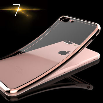 Luxury Ultra Thin Clear Crystal Rubber Plating Electroplating TPU Soft Mobile Phone Case For iPhone 5 5s 6 6s 7 7s Plus Cover