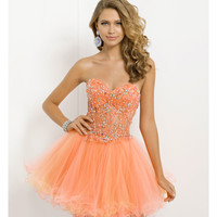 (PRE-ORDER) Blush 2014 Prom Dresses - Coral & Daffodil Strapless Short Illusion Prom Dress