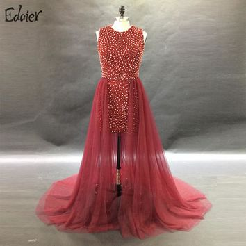 Elegant Short Prom Dresses 2017 Beaded Crystal with a Train Women Burgundy Formal Evening Party Gown for Graduation