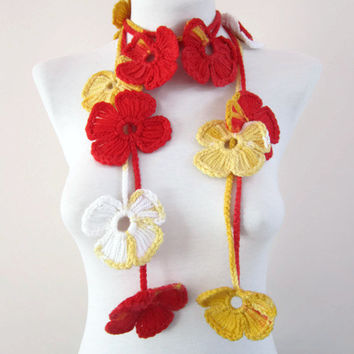 Hand crochet Lariat Scarf  red yellow white  Flower Lariat Scarf Colorful Variegated  winter fashion mothers day  christmas