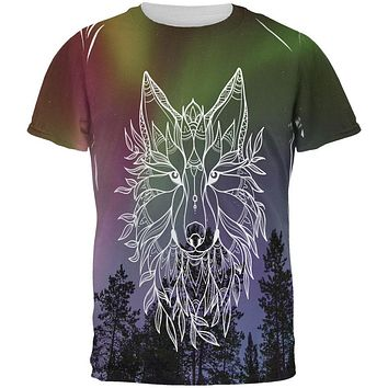 Wolf Northern Lights Night Line Art All Over Mens T Shirt
