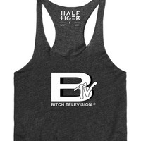 B-TV Bitch Television Racerback Tank Top-Female Heather Onyx Tank