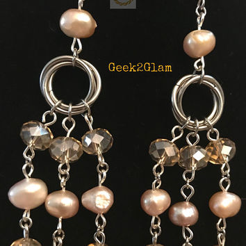Mauve Pink Dyed Fresh Water Pearls Champagne Crystal Beads Stainless Steel Chainmail Chandelier Earrings Hypoallergenic Pierced Wedding Prom