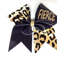 Leopard print FIRCE cheer bow