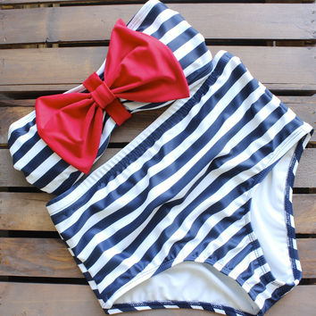 high waisted sailor bikini