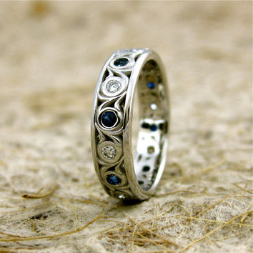 Diamond & Blue Sapphire Wedding Ring in 14K White Gold with Scrolls Size 5/4.5 mm Gems 1.8 mm