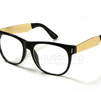 New Modern Black Wayfarer Eye Glasses Reader Retro Gold Metal Temple Mens Womens