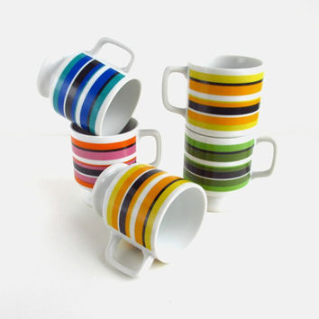 Retro Mugs Set of 5 w/ Horizontal Stripes in by ItchforKitsch
