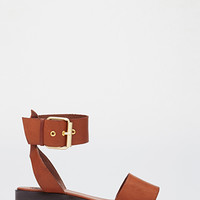 Faux Leather Buckled Sandals