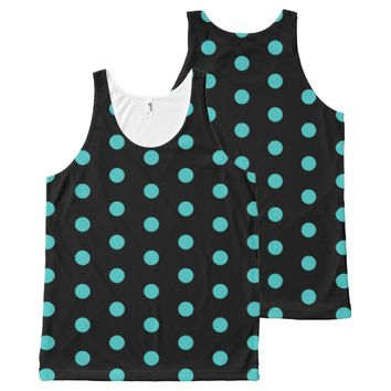 Black and Turquoise Blue Polka dots Pattern All-Over Print Tank Top