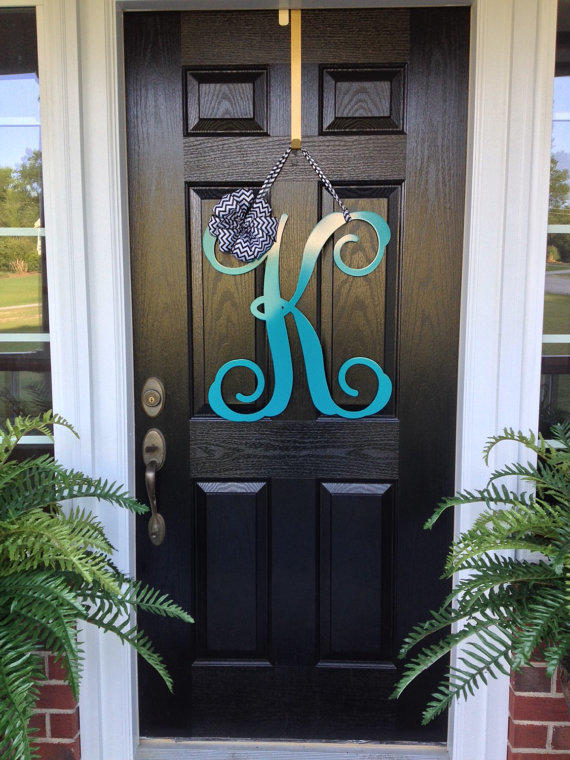initial monogram front door wreath    from housesensations on etsy