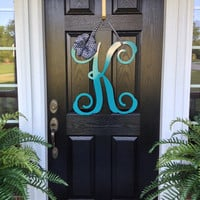 "Initial monogram front door wreath / metal monogram letter- 24"" Tall  - Over 25 colors choices & ribbon choices / Double Door Wreath"